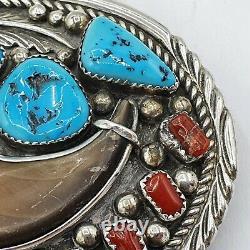Navajo Sterling Silver Belt Buckle signed ES / Silber Indianer #Kr