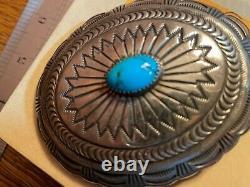 Navajo Sterling Silver Turquoise Concho Belt Buckle Signed M Morgan 3.25 X 2.5