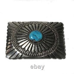 Navajo Sunburst Belt Buckle Turquoise Sterling Silver 925 Hand Stamped Vintage