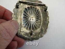 Navajo sterling silver chunky turquoise belt buckle oval concho southwest beauty