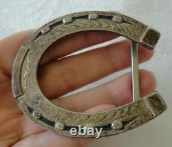 OLD Irvine Jachens Sterling Silver Horseshoe Etched Cowboy Western Belt Buckle