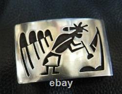 Old Hopi Bueford Dawahoya Sterling Silver Kokopelli Overlay Belt Buckle, Hopi Mrk