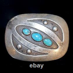 Old Pawn/Estate Sterling Silver & Turquoise Navajo Belt Buckle