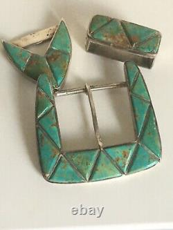 Old Pawn Navajo Canyon Collection Sterling Silver Royston Turquoise Belt Buckle