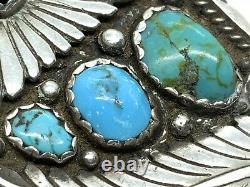 Old Pawn Navajo HMIJ DD Sterling Silver Turquoise Coral Belt Buckle (59.3g)