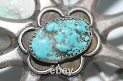 Old Pawn Navajo Sandcast Belt Buckle, Kingman Turquoise, Sterling, Signed Yb