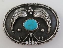 Old Pawn Sterling Silver & Turquoise Heavy 69 gram Ornate Western Belt Buckle