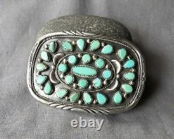 Old Vintage Zuni N. M. Signed Sterling Silver Green Turquoise Belt Buckle