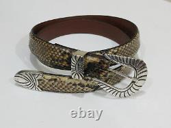 Pat Areias Sterling Silver 3 Piece Buckle Set Genuine Phython Belt, Size 30
