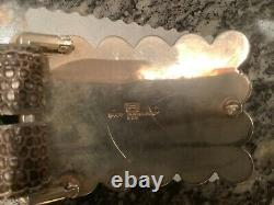 Pat Areias Sterling Silver Turquoise Belt Buckle 1 1/2 Lizard Belt 32