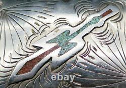 Peyote Bird Turquoise Coral Sterling Silver Native American Vintage Belt Buckle
