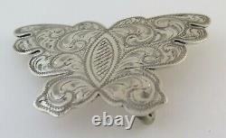 Quality Smith Enterprises Sterling Silver Engraved Butterfly Western Belt Buckle