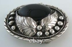 Quality Sterling Silver & Black Onyx Ornate Western Belt Buckle