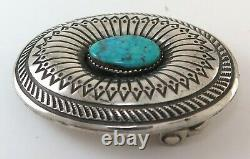 Quality Sterling Silver & Gorgeous Turquoise Southwestern Belt Buckle