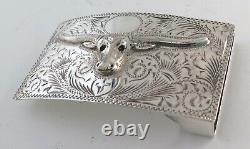 Quality Sterling Silver Relief Longhorn Bull Etched Western Belt Buckle