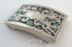 Quality Vintage Sterling Silver & Abalone Etched Mexican Belt Buckle