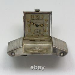 RARE 1930's Cyma Sterling Silver Golf Belt Buckle Watch with 40 Inch Leather Belt