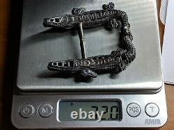 RARE Barry KIELSELSTEIN-CORD Sterling Silver Double Alligator Belt Buckle