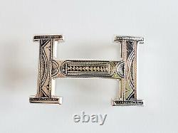 RARE New Authentic Hermes Sterling Silver Touareg Belt Buckle 32mm H Constance
