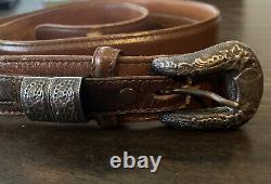 Rare Hollands #200 Sterling Silver Buckle Set With Wahmeier's Custom Ranger Belt