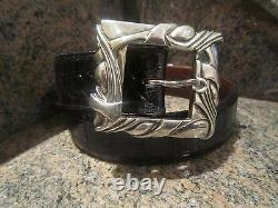 Rare! Kieselstein-Cord Sterling Art Deco/Classic Buckle with Alligator Belt