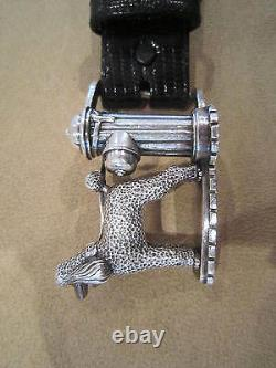 Rare! Kieselstein-Cord Sterling Poodle/Fire Hydrant Buckle and Lizard Belt