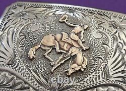 Rare Old West 1940s Sterling Silver Gold Bucking Bronco Keyston Belt Buckle