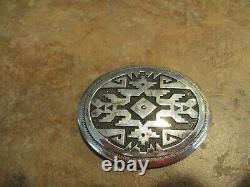 SPECIAL Vintage TOMMY SINGER (d.) Sterling Silver Overlay Design Belt Buckle
