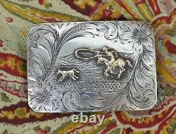 SUNSET TRAILS Sterling Silver 10K Gold Western Cowboy Roping Calf BELT BUCKLE