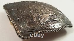 San Carlos Vintage Flying Duck 22K Gold On Sterling Silver Santa Ana Belt Buckle