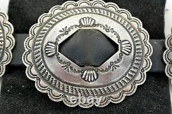 Signd P. J. BEGAY 11ozt Navajo 11 CONCHO BELT Sterling Silver REVIVAL fancy buckle