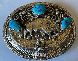 Signed Navajo Sterling Silver Kingman Turquoise Buffalo Belt Buckle