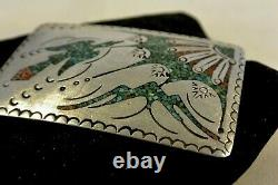 Signed TOMMY SINGER Sterling Silver BELT BUCKLE Navajo Turquoise Coral Thomas