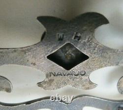 Signed Vintage Navajo Sand Cast Sterling Silver Turquoise Belt Buckle 68.5 grams