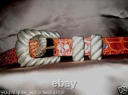 Size30-DOUGLAS MAGNUS Hefty Sterling Silver Buckle Chestnut Alligator Belt