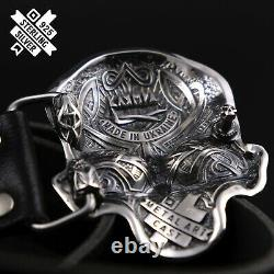 Skull belt buckle, Human skull solid 925 Sterling Silver belt buckle