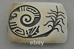 Small Hopi BELT BUCKLE Corn Plant with EXTRAORDINARY DETAIL Sterling Silver