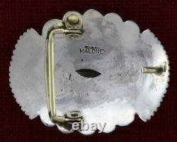 Solid Sterling Silver Belt Buckle By Navajo Artist Leonard Maloney