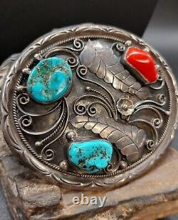 Southwestern Sterling Silver Turquoise Coral Blossom Belt Buckle Navajo