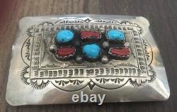 Stamped Old Vintage Navajo Turquoise, Coral & Sterling Silver Belt Buckle