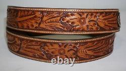 Sterling Silver. 925 14k Gold Ranger Belt Buckle Engraved Floral Vogt 44 Tooled