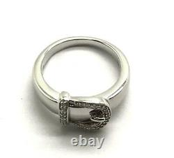 Sterling Silver 925 Belt Buckle Diamond Band Ring Size 9