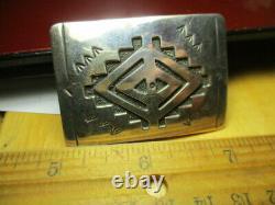 Sterling Silver 925 Estate Vintage Southwest Ta Begay Signed 2 Inch Belt Buckle