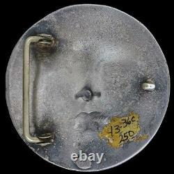 Sterling Silver 925 Sun Moon Face Hippie Art Handmade 1980s Vintage Belt Buckle