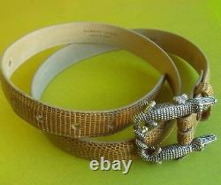 Sterling Silver Barry Kieselstein Cord Double Alligator Buckle Tan Lizard Belt