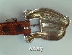 Sterling Silver Barry Kieselstein Cord Pecos Conchas Buckle Cognac Lizard Belt