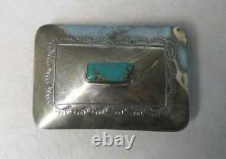 Sterling Silver Native American Belt Buckle with Turquoise Center 43 g 5-C3238