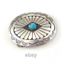 Sterling Silver Native American Blue Turquoise Belt Buckle LHE3