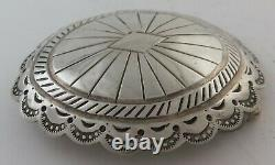 Sterling Silver Stamped Concho Style Southwestern Belt Buckle