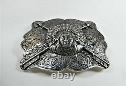Sterling Silver Trophy Indian Chief Western Americana Belt Buckle